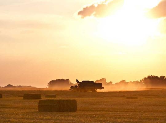 Tractor aan het werk op de weide